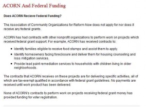 ACORN Web site Says They Do Not Receive Federal Funding