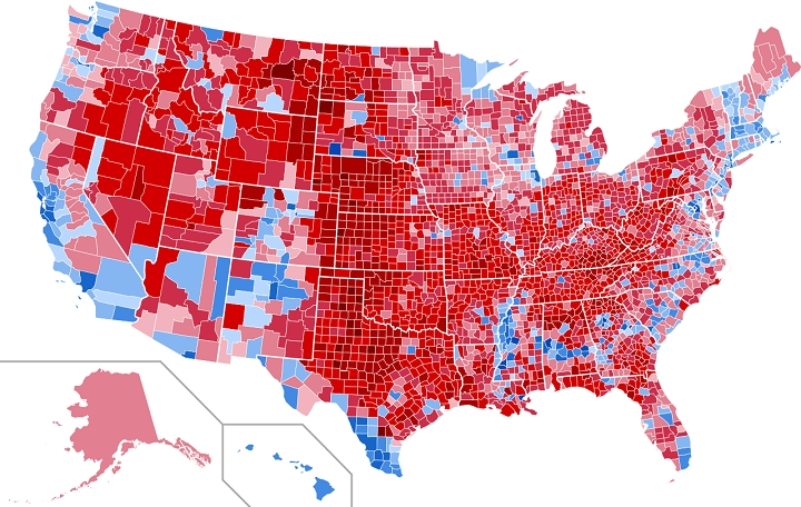 2017 Trump Electoral College Wins By County