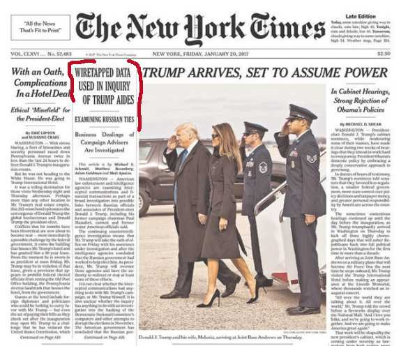NY Times, Jan 20, 2017 front page image
